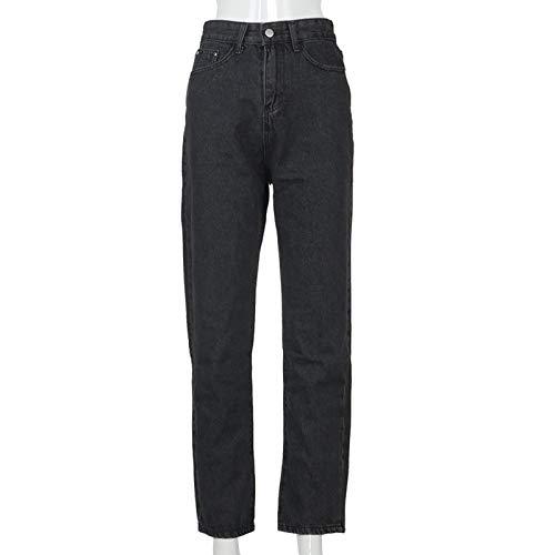 jieGorge Pantalones para Mujer, Jeans con Cordones y Cuello a Media Cintura con Bolsillo Informal para Mujer, Pantalones de Talla Grande (Negro M)