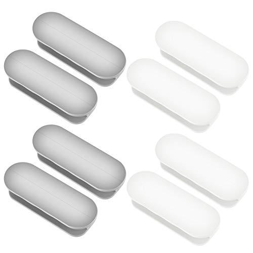 4 Stück Türknauf Türgriff, Schrankgriffe, Balkontürgriff, Schubladengriff, Selbstklebende Türgriffe für Türfenster, Startseite, Glastür, Fenster Klemmgriff (Weiß grau)
