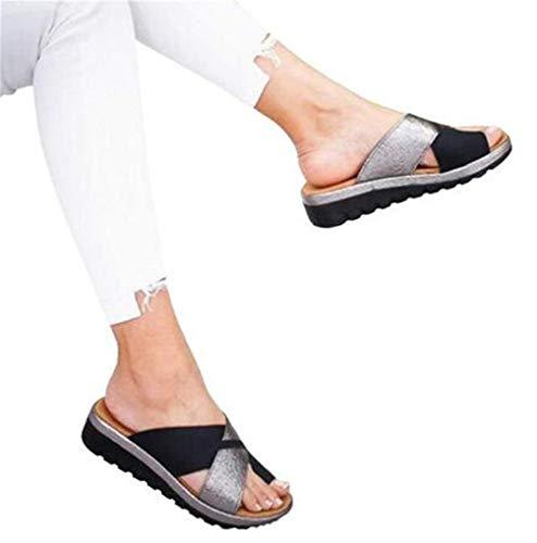 Damskie Kliny Sandały na platformie Letnie PU Skórzane sandały ortopedyczne Wygodne odkryte palce Buty do podróży na plażę Masaż pięt Miękkie dno Antypoślizgowy Sandał korekcyjny z dużym palcem, czarn