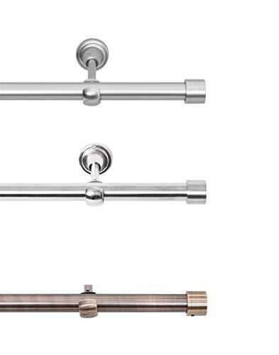 Rollmayer elegant und modern Chrom Matt Vorhangstange / Gardinenstange aus metall Ø 19mm (400cm Crux, im Silber, 1-läufig) einfache Montage verschiedene Größen und Endstücken Ohne Ringe!
