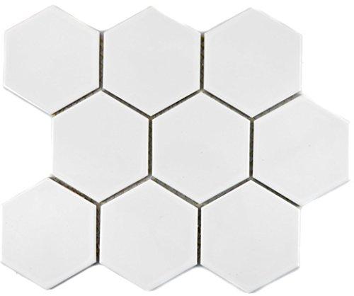 Mosaik Fliese Keramik Hexagon weiß glänzend für BODEN WAND BAD WC DUSCHE KÜCHE FLIESENSPIEGEL THEKENVERKLEIDUNG BADEWANNENVERKLEIDUNG Mosaikmatte Mosaikplatte