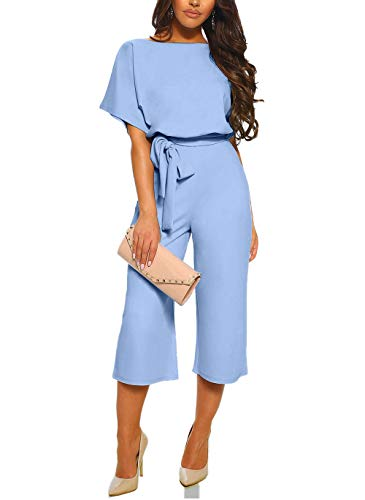 Happy Sailed Damen Langarm O-Ausschnitt Elegant Lang Jumpsuit Overall Hosenanzug Playsuit Romper S-XL, 2 Hellblau, Small(EU36-38)