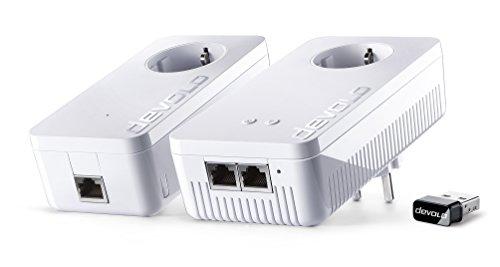 Devolo dLAN 1200+ WiFi ac Starter Kit + WiFi Stick ac Powerlan Adapter (2 Adapter im Set + WiFi Stick ac (kleinste Bauform, für USB Anschluss an PC oder Mac), WLAN Repeater, WLAN Verstärker)