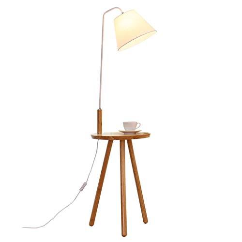 XIN Home staande lamp, staande led, massief houten vloerlamp woonkamer bedlampje creatieve Nordic staande lamp verticale planken salontafel verlichting oogbescherming verticale tafellamp