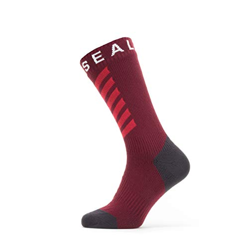 SealSkinz Waterproof Warm Weather Mid Length Calcetín, Hombre, Red/Grey/White, Large