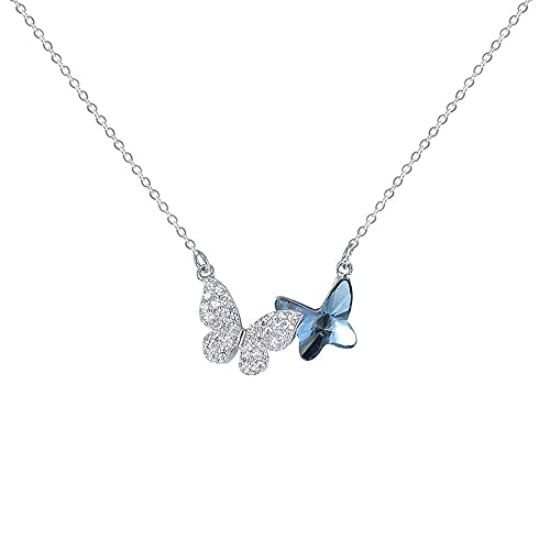 YDJGY Necklace Butterfly 925 Sterling Silver Crystal Pendant,Jewelry Gifts for Women,Mothers Day Jewelry Birthday Gift 0.7 * 0.6Inch