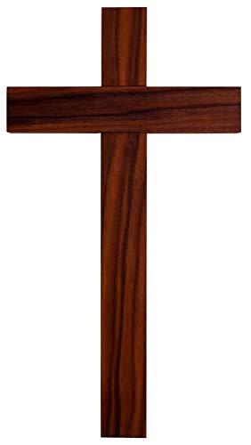 Kaltner Präsente Geschenkidee - 35 cm Wandkreuz aus echtem Nussbaum Holz Kruzifix Kreuz für Wand schlicht klassisch