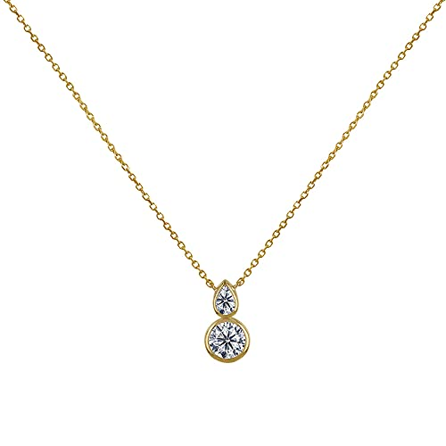 Les Poulettes Jewels - Gold Plated Necklace One Drop and A Round Rhinestone