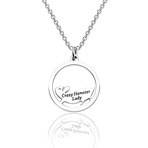 WUSUANED Pet Lover Gift Hamster Wheel Necklace Crazy Hamster Lady Hamster Lover Pendant Necklace Animal Lover Jewelry Gift for Women (Crazy Hamster Lady Necklace)