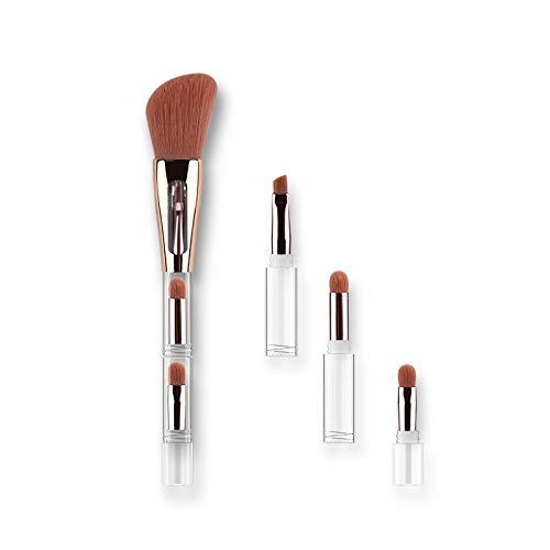 Tout-en-un pinceau quatre en un haut transparence Poignée de maquillage portable Brosse Matériel fiable