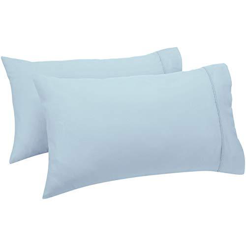 Amazon Basics - Set de 2 fundas de almohada de 400 hilos, 50 x 80 cm - Azul ahumado