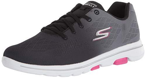 Skechers Damen GO Walk 5-Alive Sneaker, schwarz/pink, 38 EU