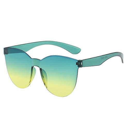 Xniral Einteilige Sonnenbrille Unisex Runden Gläser Rahmenlos Transparente Sonnenbrille Für Männer Und Frauen(K)