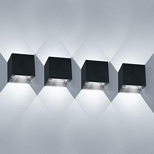 LEDMO 4 Pezzi 12W Lampada da Parete LED Moderno Applique da Parete Interno/Esterno Bianco Freddo 6000K Lampada da Muro Applique cubo in Alluminio IP65 Impermeabile Nero