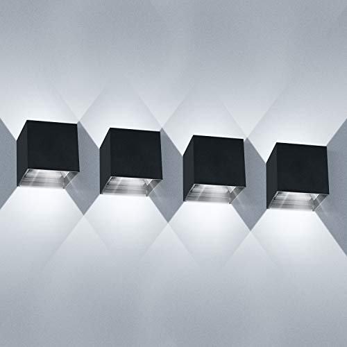 LEDMO Aplique de pared exterior Interior/Exterior 12W*4 Apliques pared led Blanco frío Aplique led