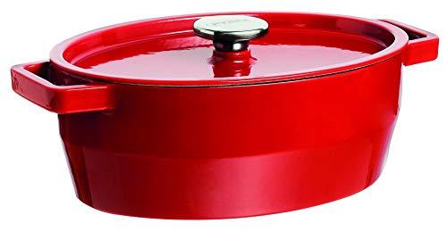 Pyrex 4936880 Schmortopf Slow Cook, oval, 5,8 l Stahlguss Rot