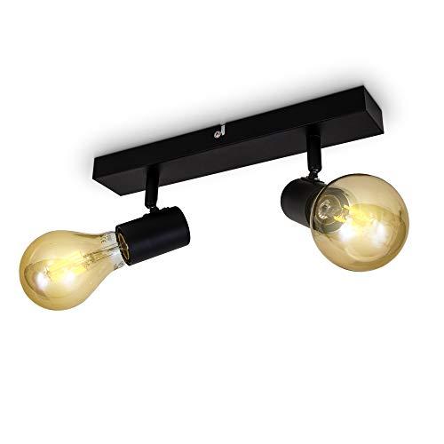 B.K.Licht Vintage Deckenleuchte I Retro Deckenlampe exkl. 2x max. 60W E27 Leuchtmittel I Landhausstil Deckenstrahler