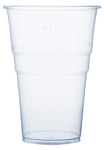 RAGO Plastikbecher 50 Stück, Premium EINWEG Becher 0,4l, Transparent 400 ml Groß