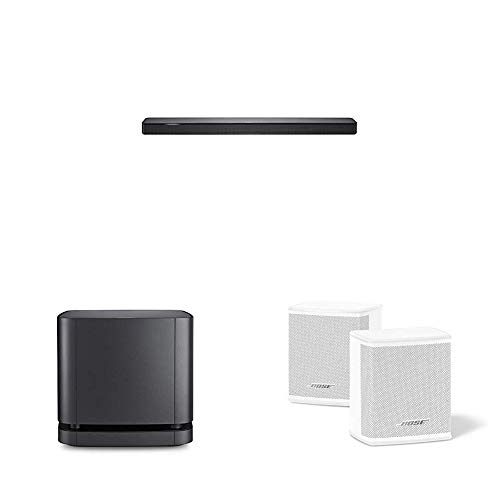 BOSE Soundbar500 mit Integrierter Amazon Alexa-Sprachsteuerung Schwarz + Lautsprecher Bass Module 500 schwarz + Surround Speakers, weiß