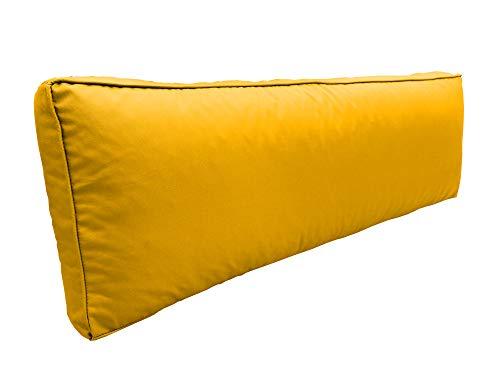 cojín para palets Impermeable con Ribete Decorativo sofá de Patio cojín para Muebles de jardín Funda Extraible (Respaldo 120 x 40 x 12, Amarillo)