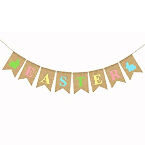 Materials: These Easter burlap garland banners are made of burlap and hemp rope, Durable, and reusable for many times using and creates a pleasant and warm atmosphere at your Easter. Size: These burlap garland banner String length: 6.56 feet / 2 mete...