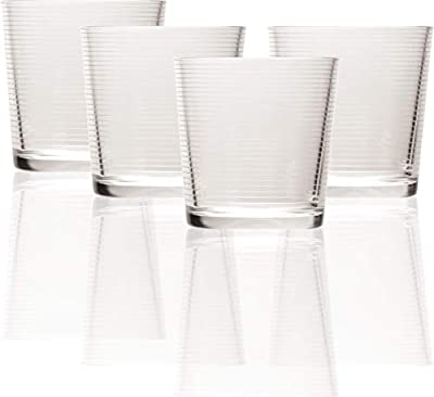 Circleware Hoop Heavy Base Whiskey Drinking Glasses, Set of 4 Entertainment Dinnerware Glassware for Water, Juice, Beer Bar Liquor Dining Decor Beverage Cups Gifts, 12.5 oz, Clear