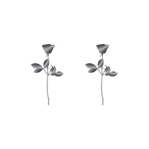 Rose 6cm Auto Fenster Spiegel Aufkleber Tattoo die cut vinyl selbstklebende Deko Folie Depeche Mode (2 Stück silber-metallic)