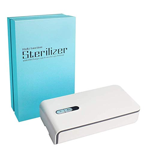 Mobitizer UV Light Sanitizer Portable, CellPhone Disinfector with Aroma Diffuser Cleaner Box Multifunctional Ultraviolet Lamp for Smartphone, Jewelry, Watches, Masks, Keys, Glasses