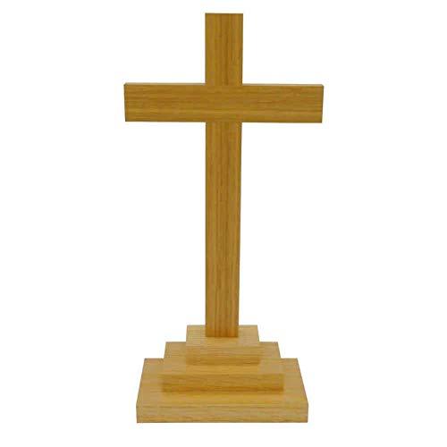 kruzifix24 Devotionalien Stehkreuz Standkreuz Eiche Natur Balken gerade ohne Korpus 25 x 12 cm Stufenfuß Altarkreuz für Zuhause Pflegeheim Unterweg - Sterbekreuz für Hospitz
