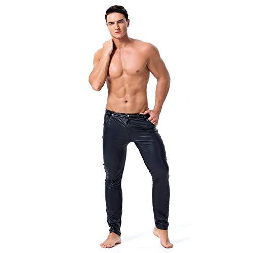 Ropa Erótica Hombres Pantalones De Cuero De Imitación De Pvc Negro Clubwear Stage Pantalones Pitillo Stretch Leggings Sexy Latexfetish Dance Costume-Black_L