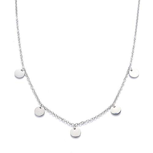 Kim Johanson Edelstahl Damen Halskette *Coin* in Silber mit 5 runden Plättchen Boho Schmuck Kette verstellbar inkl. Schmuckbeutel