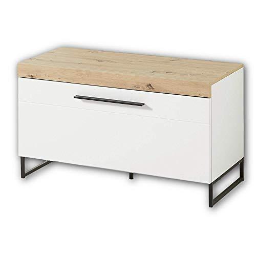 Stella Trading LOFT-TWO TV-Board (Unterteil) in Artisan-Eiche Optik, weiß - Hochwertiges Low-Board für Ihr Wohnzimmer - 96 x 55 x 44 cm (B/H/T)