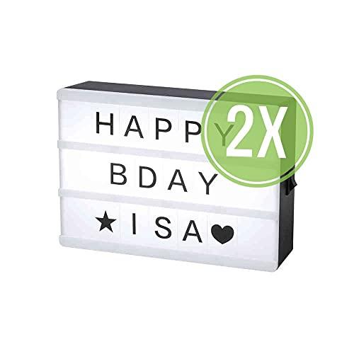 Pack 2 UNIDADES Caja de Luz LED con Letras y símbolos (15 x 10.7 x 4.1 cm) Señal de cine. Light box. Cartel luminoso