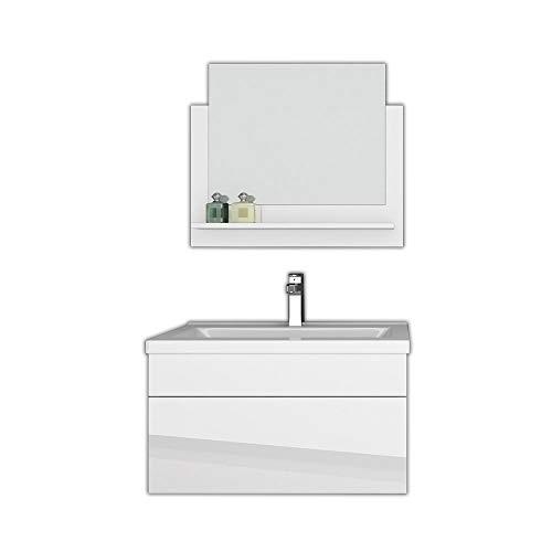 Home Deluxe - Badmöbel-Set - Wangerooge weiß - M - inkl. Waschbecken und komplettem Zubehör - Breite Waschbecken: ca. 60 cm