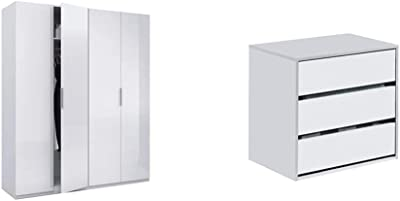 Habitdesign Armario 4 Puertas, Color Blanco Brillo, Medidas 200 Cm (Alto) X 180 (Ancho) X 52 Cm (Fondo) + Cajonera Auxiliar 3 Cajones, Blanco Mate, 60 Cm (Ancho) X 57 Cm (Alto) X 44 Cm (Fondo)