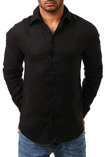Young & Rich Herren Leinenhemd Langarm körperbetont Slim fit leicht tailliert 100% Leinen T3152-H1650, Grösse:XXL, Farbe:Schwarz