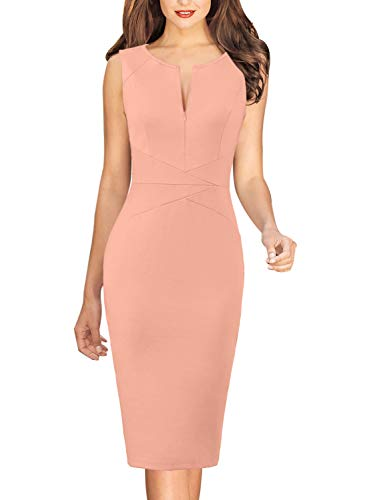 VFSHOW Womens Peach Pink Elegant Slim Zipper Up Work Business Office Party Bodycon Pencil Sheath Dress 3332 PIK L