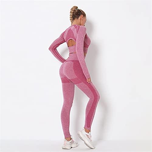 TXXT Pantalones de yoga para deportes, sin costuras, de manga larga, conjuntos de yoga, cintura y fitness, leggings de manga larga, ropa de entrenamiento para mujer (color: rojo vino, yoga, tamaño: M)