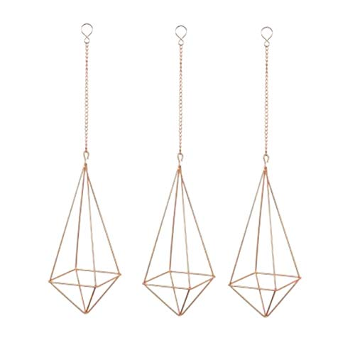 xingxing 3 Pcs Hanging Air Plant Stand Geometric Flower Pot Plant Stand,Garland Hanging Chain,Suitable for Home Decoration (Color : Rose gold)