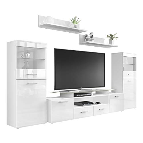 318kkezCsKL - Vladon Wohnzimmer Wohnwand Anbauwand Schrankwand Almada V2, Korpus in Weiß matt/Front in Weiß Hochglanz