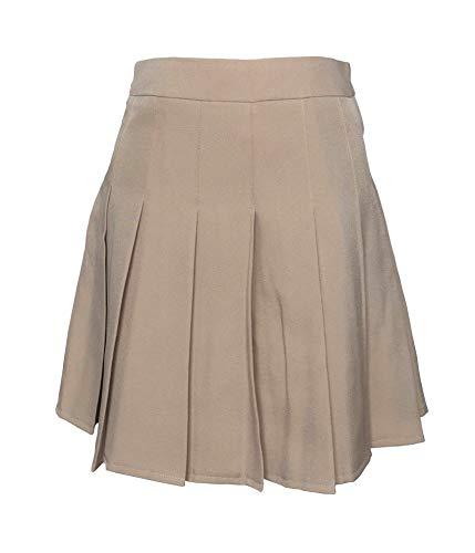 Hoerev Women Girls Short High Waist Pleated Skater Tennis School Skirt,L, Solid Beige - US 6
