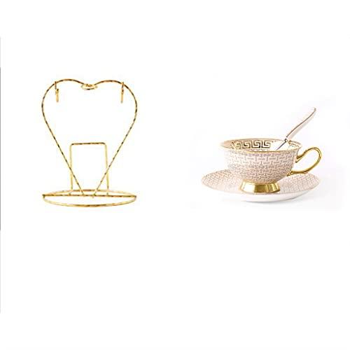 MQH Conjunto de Taza de té de 2 Euro Estilo Taza platillo Conjunto cerámica Tazas de café Hueso China Taza de té y platillo Conjunto decoración de Mesa de Comedor Fino (Color : White)