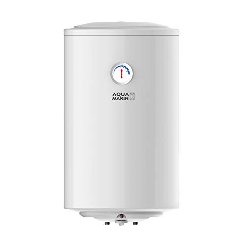 Aquamarin® Chauffe-Eau Électrique - Réservoir avec Capacité de 30/50/80/100 Litres, Thermostat à 75°C, 1.5 kW, CEE : B/C, Modèle Anti-Calcaire - Ballon d'Eau Chaude (50 L)