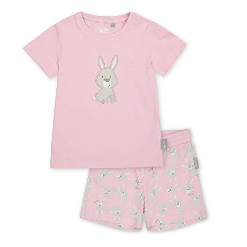 Sigikid Mädchen Mini Nightwear, 2-teiliger Pyjama aus Bio-Baumwolle für Kinder Pyjamaset, Rosa/Hasen/kurz, 110
