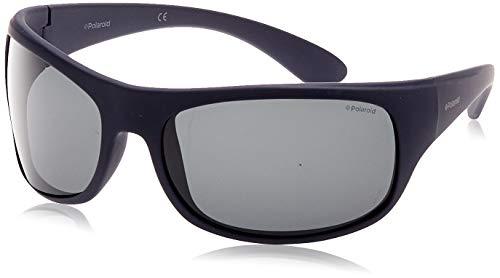 Polaroid Unisex Erwachsene Sonnenbrillen, Blau (Matte Dark Blue/Grey Polarized), 66