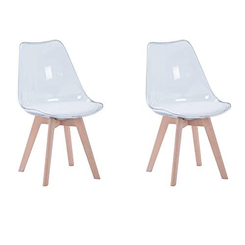 BenyLed Juego de 2 sillas de Comedor de Estilo escandinavo, diseño Retro, sillas Laterales de acrílico Transparente, Silla de Cristal con cojín tapizado de PU (Blanco)