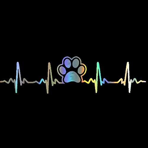 QULIN 17,7 * 4,5 cm Hundepfote gedruckt Elektrokardiogramm Herzschlag Mode Kohlefaser Auto Aufkleber Vinyl Aufkleber