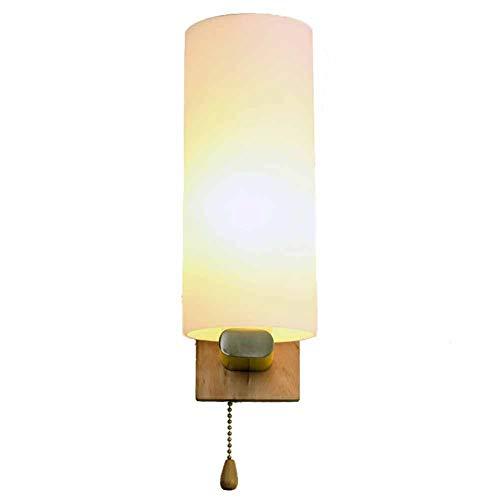 NBPLUS massief houten wandlamp met trekschakelaar, Hotel kamer bed enkele muur lamp voor woonkamer slaapkamer hal ingang, 27 Base