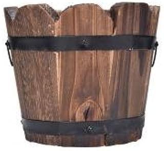 Maceta de madera con diseño de flores, con forma de cubo,