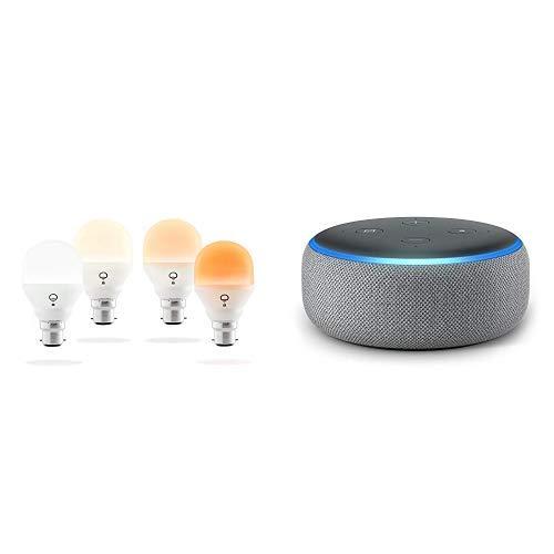 Echo Dot tessuto grigio scuro + LIFX Mini Day & Dusk (B22) Lampadina a LED Wi-Fi Smart, regolabile, multicolor, dimmerabile, non richiede un hub, funziona con Alexa, Apple HomeKit e Google Assistant, confezione da 4
